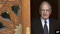 US Mideast envoy George Mitchell leaves following his meeting about Mideast peace talks with Egyptian Foreign Minister Ahmed Aboul Gheit, not pictured, in Cairo, Egypt, Oct 3, 2010