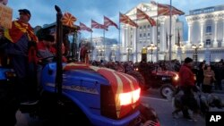 Протесты фермеров в Скопье - столице Македонии. 10 марта 2017 года.