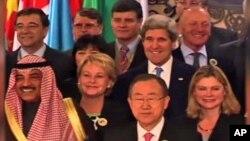 PBB dan beberapa delegasi yang hadir pada konferensi perdamaian Suriah di Montreux, dekat Jenewa hari Rabu (22/1).