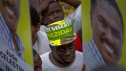 Supporters of presidential candidate Jude Celestin gather in Port-au-Prince,Thursday