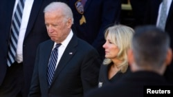 FILE - U.S. Vice President Joe Biden and his wife, Jill, are seen in a Dec. 27, 2014, photo.