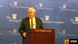 美國前議長紐特金里奇星期二(12月13日)在華盛頓傳統基金會發表演講。