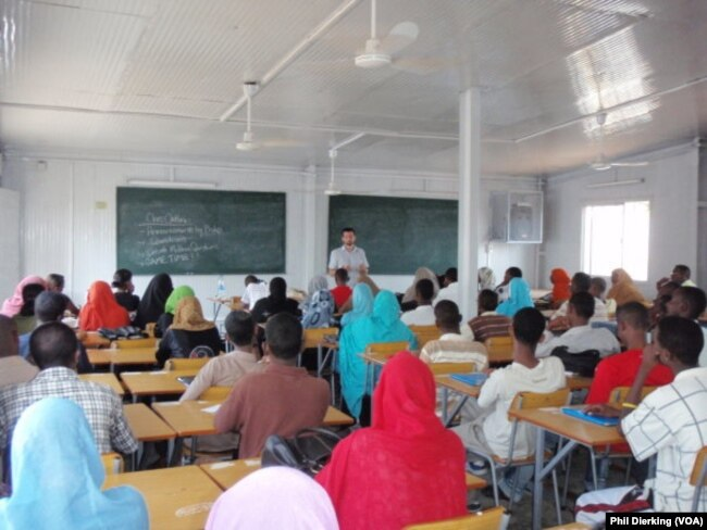A teacher leading an English class in a Djiboutian univiersty.