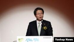 류길재 한국 통일부 장관이 지난 19일 서울 통일연구원 주최로 열린 '신뢰와 평화, 희망의 DMZ 세계평화공원' 국내학술회의에서 연설하고 있다.