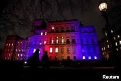 The Foreign and Commonwealth Office buildings are illuminated on Brexit day in London, Britain.