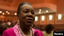 Catherine Samba-Panza reacts after she was elected as Central African Republic's interim president in Bangui, Jan. 20, 2014.