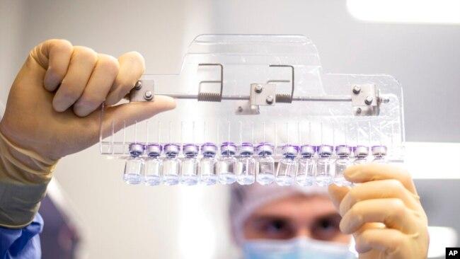 Seorang teknisi sedang memeriksa botol-botol kecil yang berisi vaksin COVID-19 buatan Pfizer-BioNTech di kantor perusahaan tersebut di Puurs, Belgia, pada Maret 2021. (Foto: Pfizer via AP)