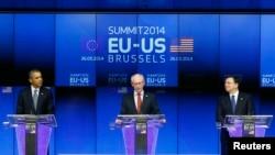 Barack Obama, Herman Van Rompuy e José Manuel Barroso, Bruxelas Março 26, 2014.