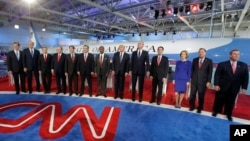 Các ứng cử viên tổng thống năm 2016 của đảng Cộng hoà trong cuộc tranh luận lần hai tại Thư viện Tổng thống Ronald Reagan, ngày 16/9/2015.
