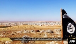 FILE - An image made available by propaganda Islamist media outlet Welayat Halab allegedly shows the trademark Jihadist flag positioned in the Mishtenur area, a plateau south of Kobane, Syria.