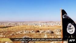 """伊斯兰主义媒体Welayat Halab公布的据称是飘扬在叙利亚科巴尼地区的""""伊斯兰国""""旗帜。(资料照)"""