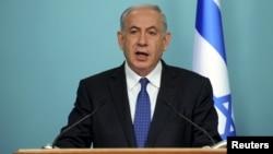 FILE - Israeli Prime Minister Benjamin Netanyahu delivers a statement to the media in Jerusalem, April 1, 2015.