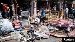 伊拉克南部城市巴士拉炸弹袭击现场