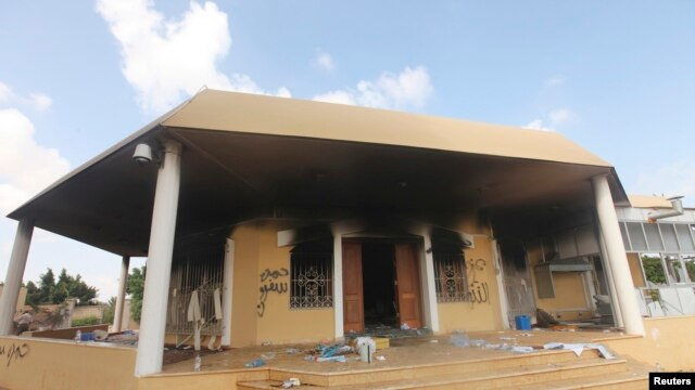 FILE - An exterior view shows the U.S. consulate in Benghazi, Libya, a day after it was attacked and set on fire September 11, 2012.
