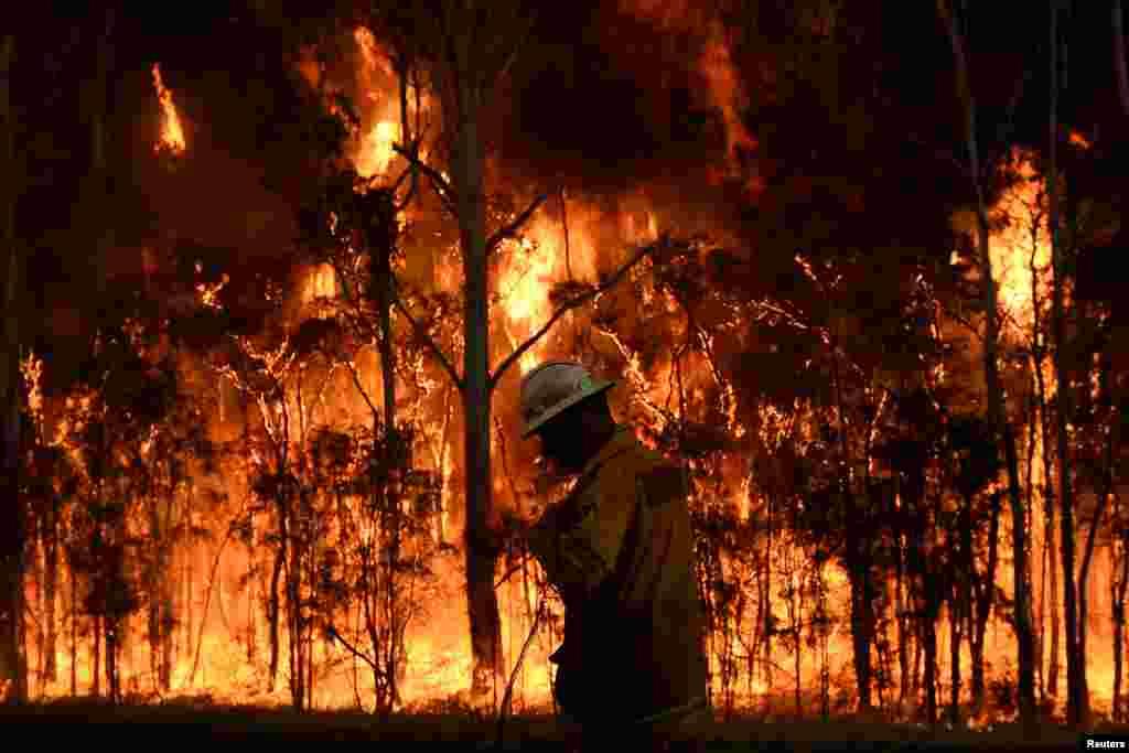 تلاش یک آتش نشان برای خاموش کردن یک آتش بزرگیدر نیو ساوت ولز استرالیا.