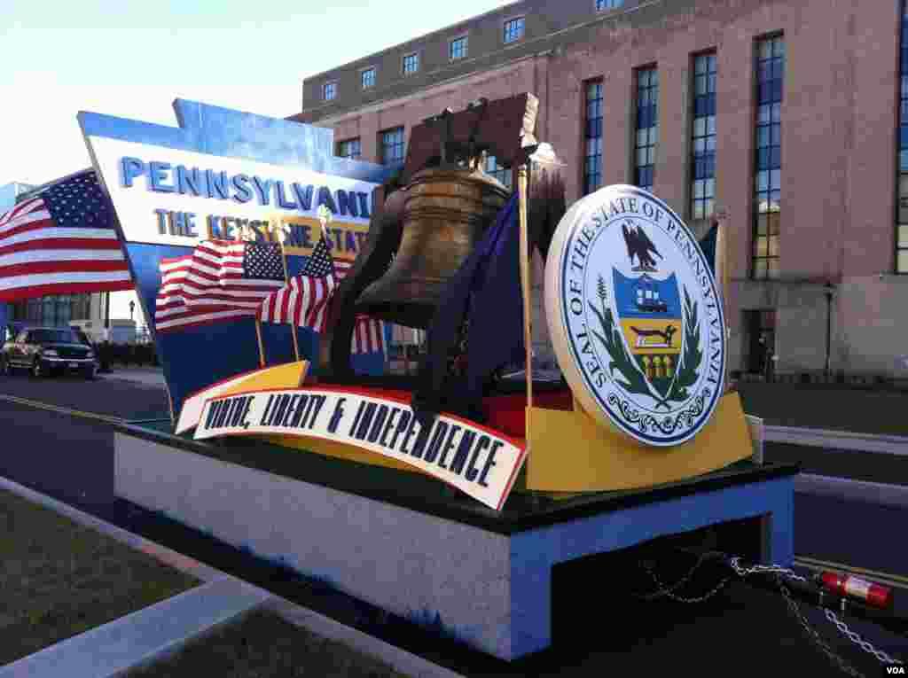 امریکی صدارتی تقریب حلف برداری کی تیاریاں: ریاست پینسلوانیہ کا فلوٹ