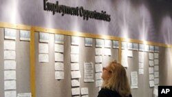 一名美国妇女在公告栏前寻找就职机会