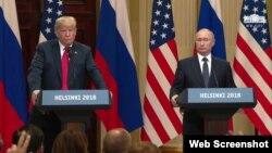 نشست خبری مشترک پرزیدنت ترامپ و همتای روس او پس از دیدار در هلسینکی، پایتخت فنلاند - ۲۵ تیر ۱۳۹۷