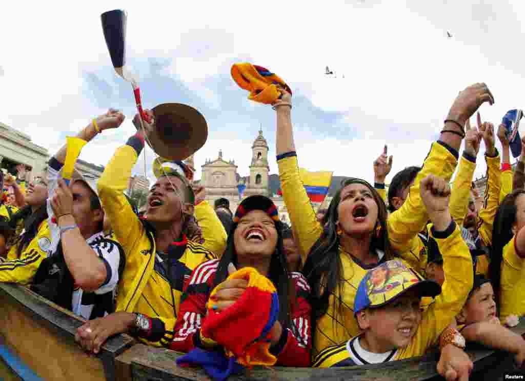 28일 브라질 리우데자네이루에서 열린 월드컵 16강 콜롬비아와 우루과이의 경기에서 우루과이가 2:0으로 앞서나가자, 콜롬비아 보고타의 볼리바르 광장에서 경기를 시청하던 콜롬비아 팬들이 환호하고 있다.