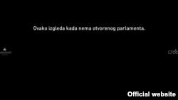Naslovna strana sajta Otvoreni parlament zatamljena kao vid protesta zbog urušavanja institucije parlamenta.