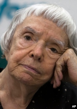 FILE - Lyudmila Alekseyeva, Russia's veteran human rights activist and head of the Moscow Helsinki Group, attends a news conference in Moscow, July 5, 2012.