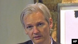 WikiLeaks founder Julian Assange speaks during a press conference in London, 26 July 2010