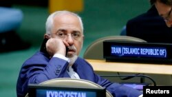 Menteri Luar Negeri Iran Mohammad Javad Zarif saat menghadiri Sidang ke-72 Majelis Umum Perserikatan Bangsa-Bangsa di Markas Besar PBB di New York, Sept. 20, 2017.