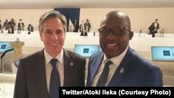 Christophe Lutundula (D), ministre ya mambi ya Bapaya ya RDC na mokokani wa ye ya Etats-Unis Secrétaire d'Etat Antony Blinken, na bokutani lisanga lya kobundisa DAESH, na Rome, Italie, 29 juin 2021. (Twitter/Atoki Ileka)