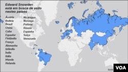 En la lista de países a donde Edward Snowden ha solicitado asilo político se encuentra Ecuador.