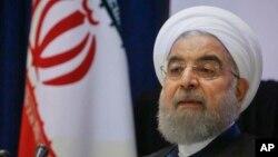 Tổng thống Iran Hassan Rouhani trong một cuộc họp báo trong chuyến đi đến dự Đại hội đồng Liên Hiệp Quốc, ngày 20 tháng 9, 2017, ở New York.