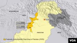 地图上显示的是由巴基斯坦联邦管辖的部落区北瓦济里斯坦和南瓦济里斯坦。