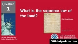 Question One - Supreme Law - From US Citizenship and Immigration Service's Civics Flash Cards for the Naturalization Test