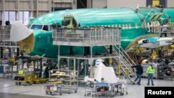 A Boeing 737 jetliner is pictured during a tour of the Boeing 737 assembly plant in Renton, Washington.