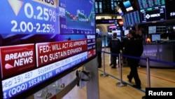 Bursa saham New York Stock Exchange (NYSE) di kota New York, AS.