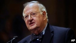 Angus Deaton speaks at a gathering at Princeton University after he was named Nobel prize winner for economics.