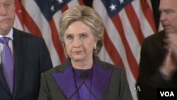 Hillary Clinton's concession speech after losing in election to Donald Trump, Nov. 9, 2016.