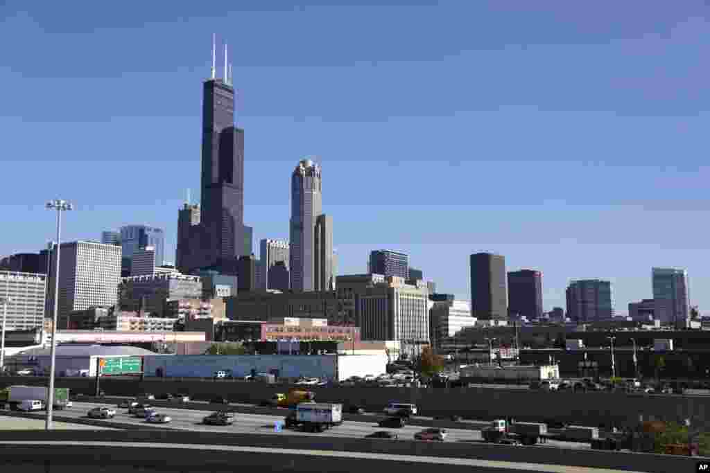 The Willis Tower, formerly known as the Sears Tower, in Chicago, Illinois is 442 meters tall.
