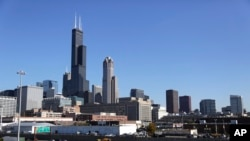 The Willis Tower, formerly known as the Sears Tower, in Chicago Illinois is 442 meters tall.