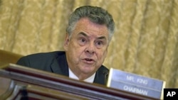 House Homeland Security Committee Chairman Rep. Peter King presides over the committee's hearing on Islamic radicalization in the US, on Capitol Hill in Washington, July 2011. (file photo)