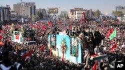 Đám tang tướng Soleimani tại Kerman, Iran, ngày 7 tháng Giêng.