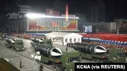 Military equipments are seen during a military parade to commemorate the 8th Congress of the Workers' Party in Pyongyang, North Korea January 14, 2021 in this photo supplied by North Korea's Central News Agency (KCNA).
