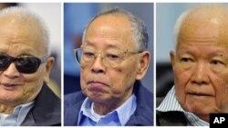 ခမာနီအဖြဲ႔ မူ၀ါဒေရးရာေခါင္းေဆာင္အျဖစ္ ထင္ရွားသူ Nuon Chea (၀ဲ)၊ ႏိုင္ငံျခားေရး၀န္ႀကီးေဟာင္း Ieng Sary (လယ္)၊ ခမာနီအစိုးရေခါင္းေဆာင္ေဟာင္း Khieu Samphan (ယာ)။ (ႏို၀င္ဘာလ ၂၁၊ ၂၀၁၁)