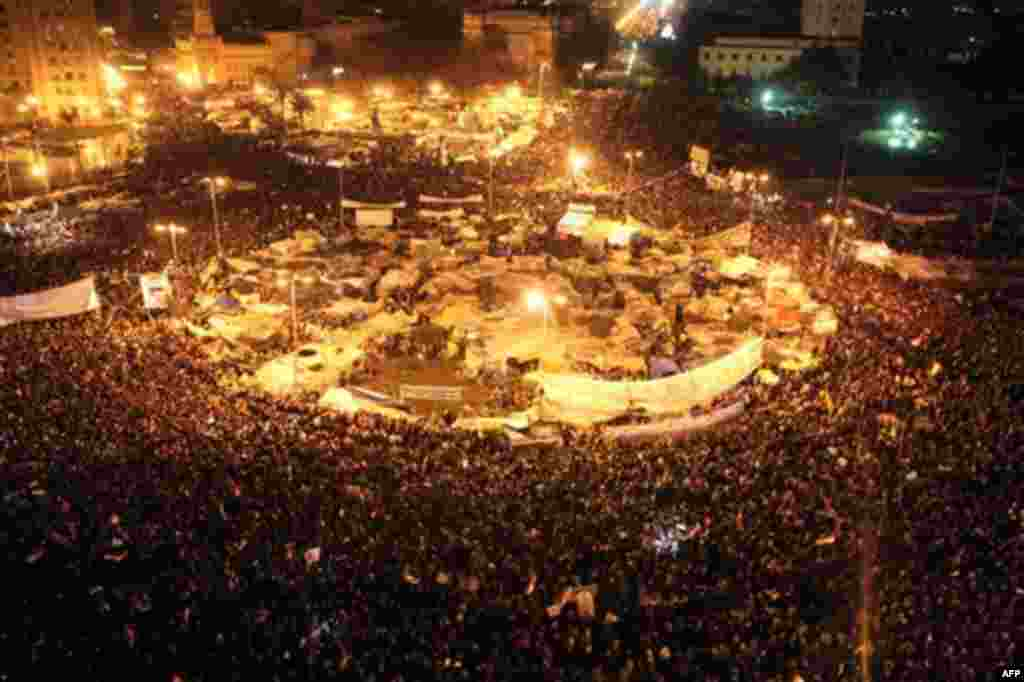 Anti-government protesters celebrate in Tahrir Square in downtown Cairo, Egypt Thursday, Feb. 10, 2011. (AP Photo/Tara Todras-Whitehill)