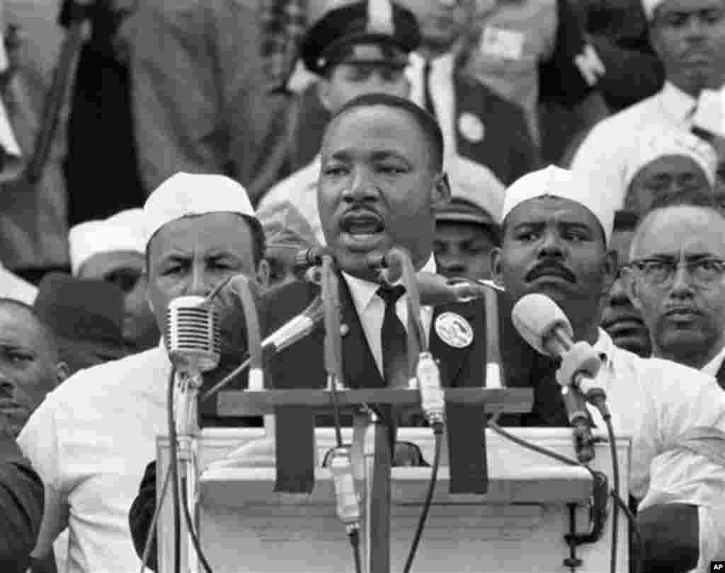 """In this Aug. 28, 1963, black-and-white file photo Dr. Martin Luther King Jr. addresses marchers during his """"I Have a Dream"""" speech at the Lincoln Memorial in Washington. DreamWorks Studios announced Tuesday, May 19, 2009 it plans to make a movie about the"""