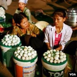 Pedagang telur ayam di Tiongkok (foto:dok). Baru-baru ini, kasus baru flu burung yang disebabkan varian baru H5N1 dilaporkan di negara ini.