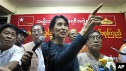 昂山素姬在星期日向支持者發表演說