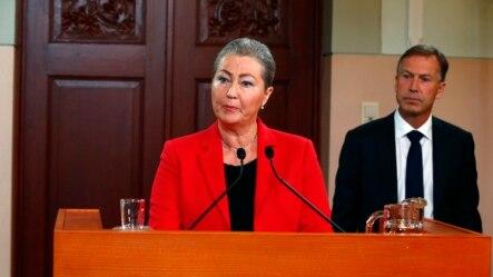 Bà Kaci Kullmann Five, đứng đầu Ủy ban Nobel, thông báo người thắng giải Nobel Hòa bình năm 2015 trong cuộc họp báo ở Oslo, Norway, ngày 9/10/2015.