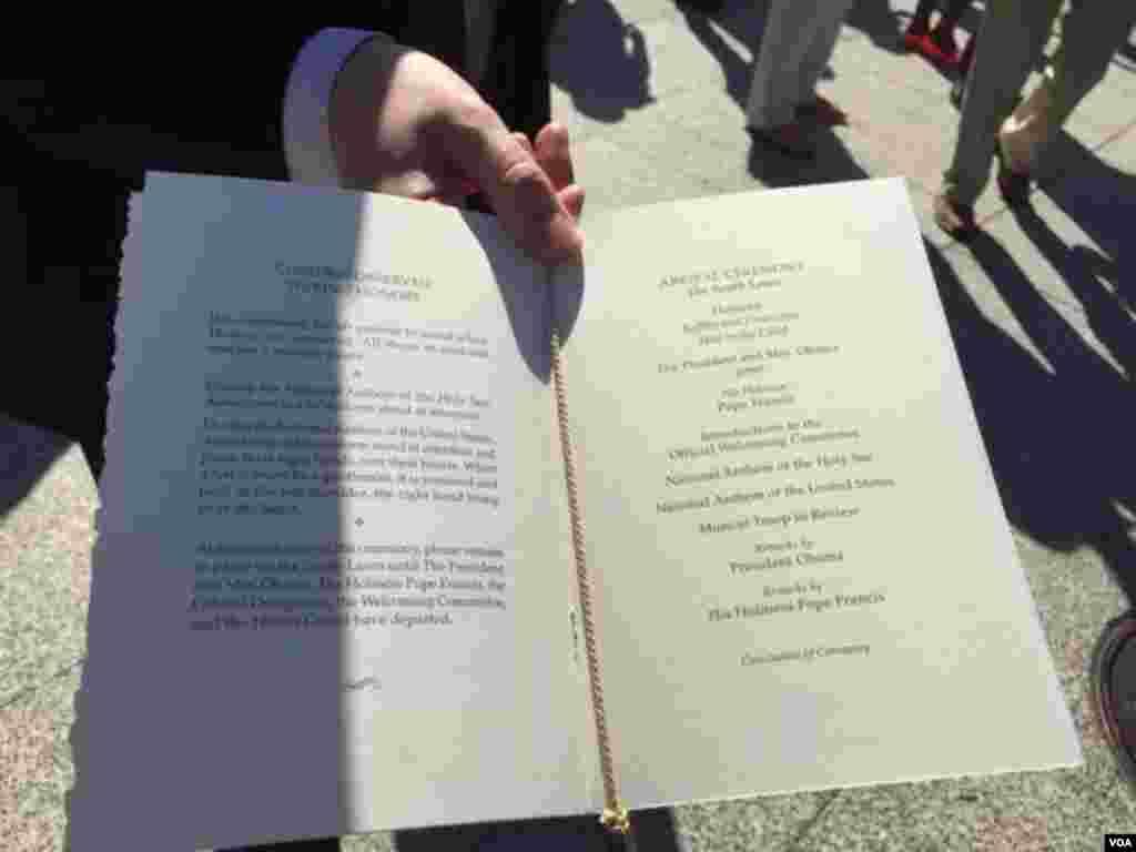 罗马天主教教宗方济各对美国历史性访问的白宫邀请函。