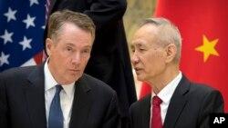 2019年2月15日,中國國務院副總理劉鶴與美國貿易代表萊特希澤在北京釣魚台國賓館談話。