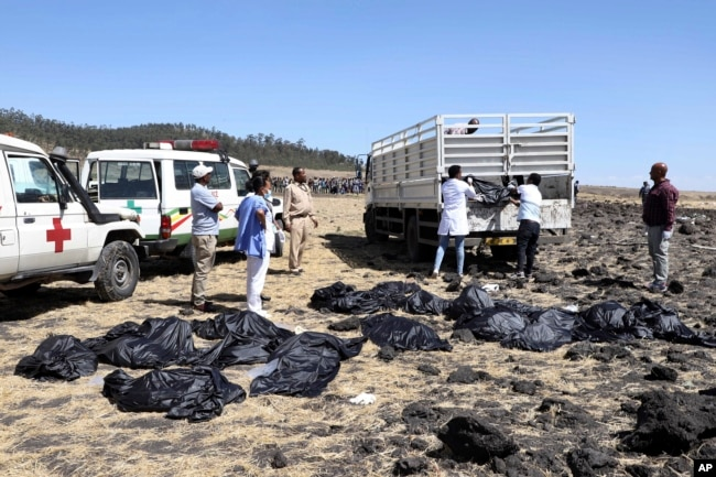 Rescuers remove body bags from the scene of an Ethiopian Airlines flight that crashed shortly after takeoff at Hejere near Bishoftu, or Debre Zeit, some 50 kilometers (31 miles) south of Addis Ababa, in Ethiopia Sunday, March 10, 2019.